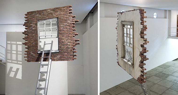 Door Art Installation : The shattered door and window in sky
