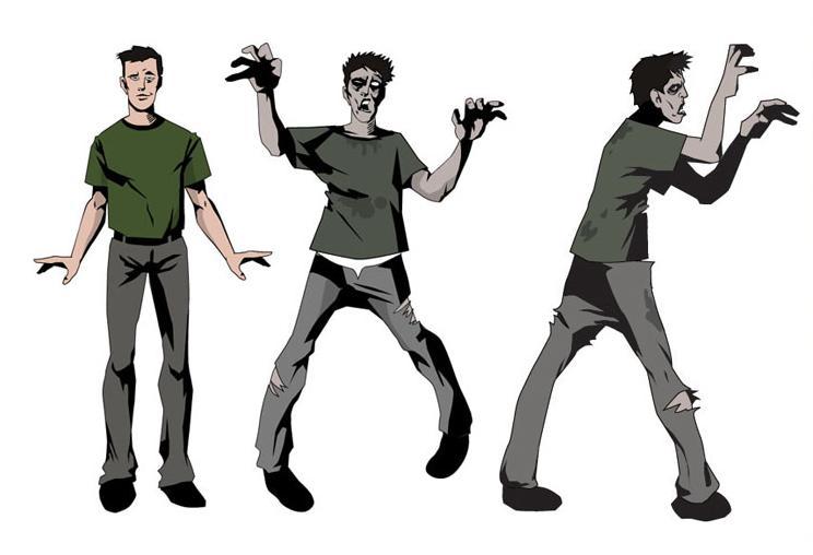 Male shuffle legs claw hands