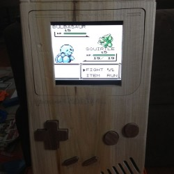 A giant wooden gameboy