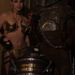 Steampunk meets Star Wars cosplay: Slave Leia, R2-D2 and Boba Fett