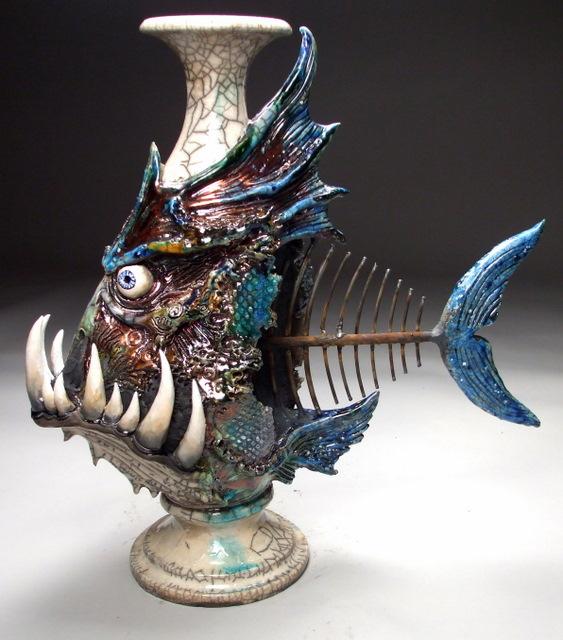 Forbidding aquatic ceramic creations for Ceramic fish sculpture