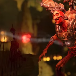 Shotgun wielding Revenant: Doom trailer