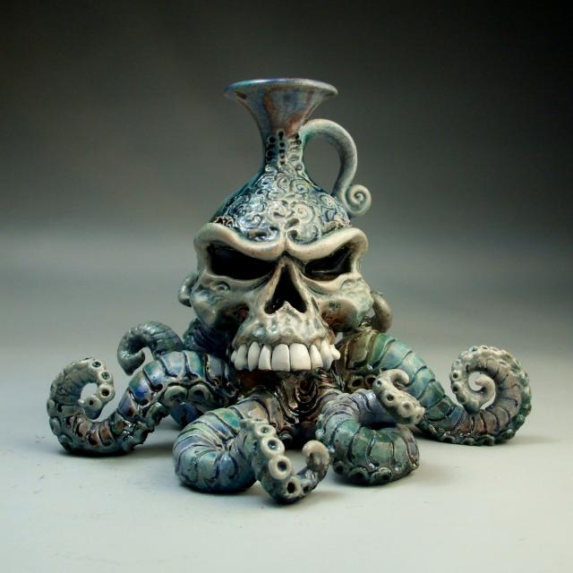 Scarcely cool skull octopus jug for Cool ceramic art