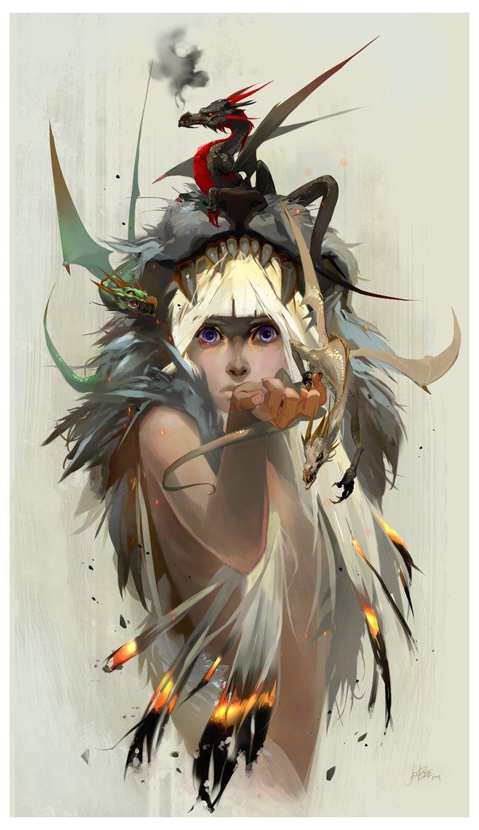 Ilustração de uma mulherde pele clara e aparencia jovem com cabelo branco. Em volta dela há uma pele de algum nimal, sendo que a cabeça desse animal está sob o cabelo da moça. E em cima de tudo háum dragão negro.