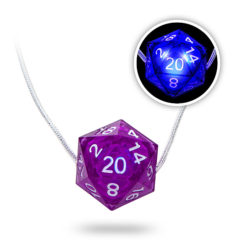 Glowing d20 necklace